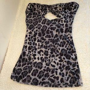 New York & Company Leopard Stretchy Blouse Size XL